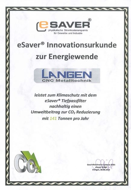 eSaver Innovationsurkunde zur Energiewende