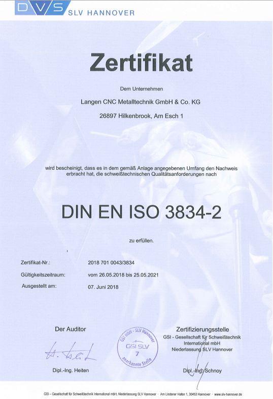 Zertifikat DIN EN ISO 3834-2